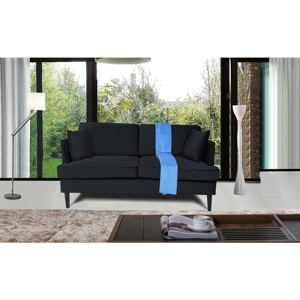 Astounding Harper Bright Designs Modern Black Velvet Tufted Sofa Lamtechconsult Wood Chair Design Ideas Lamtechconsultcom