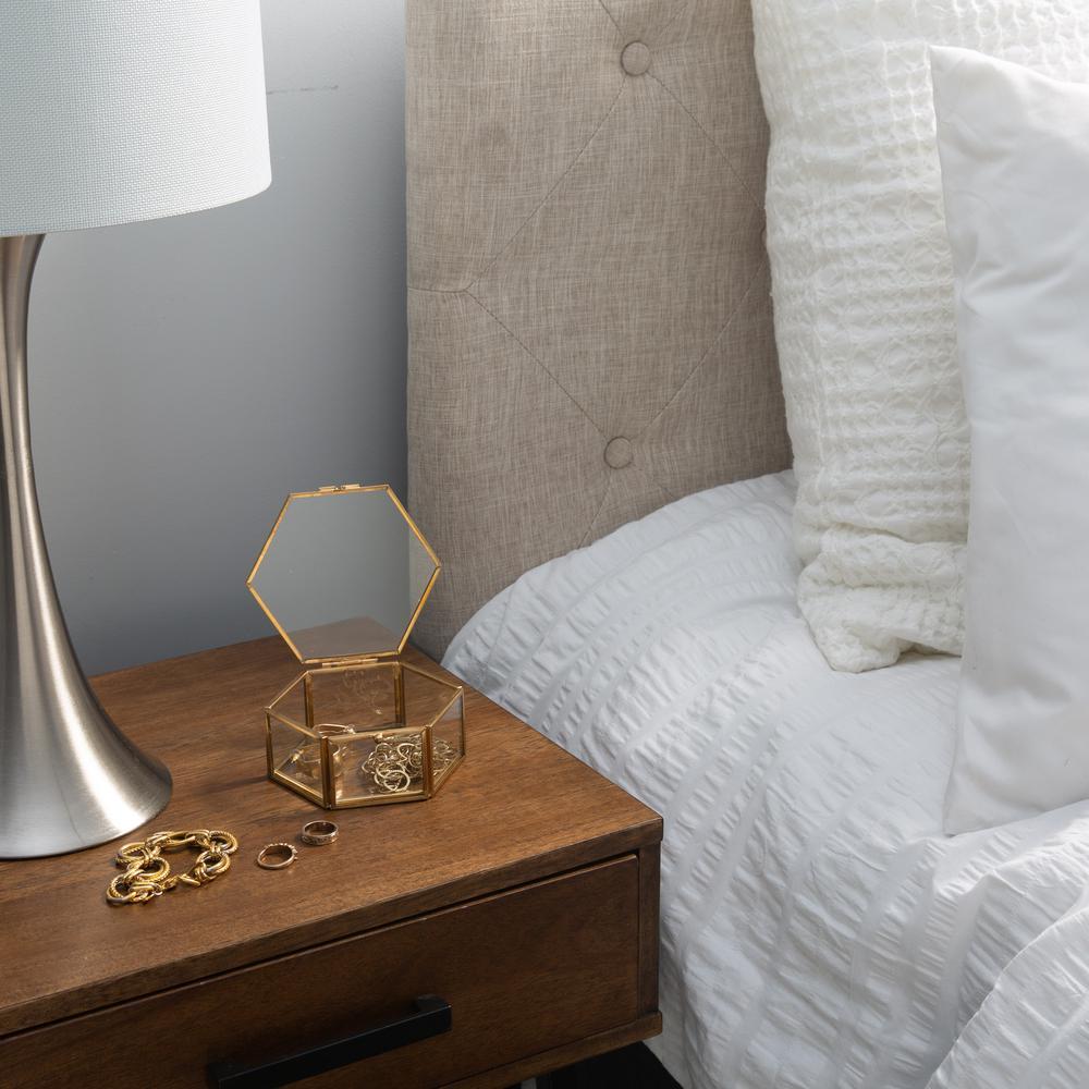 Vintage Gold Hexagon Glass Keepsake Box