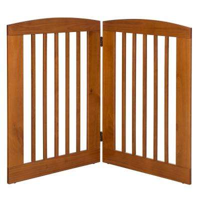 Ruffluv 36 in. H Wood 2-Panel Expansion Chestnut Pet Gate