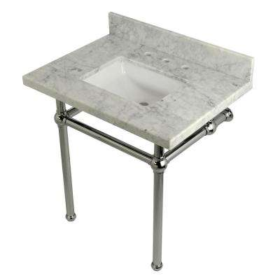 Square-Sink Washstand 30 in. Console Table in Carrara with Metal Legs in Polished Chrome