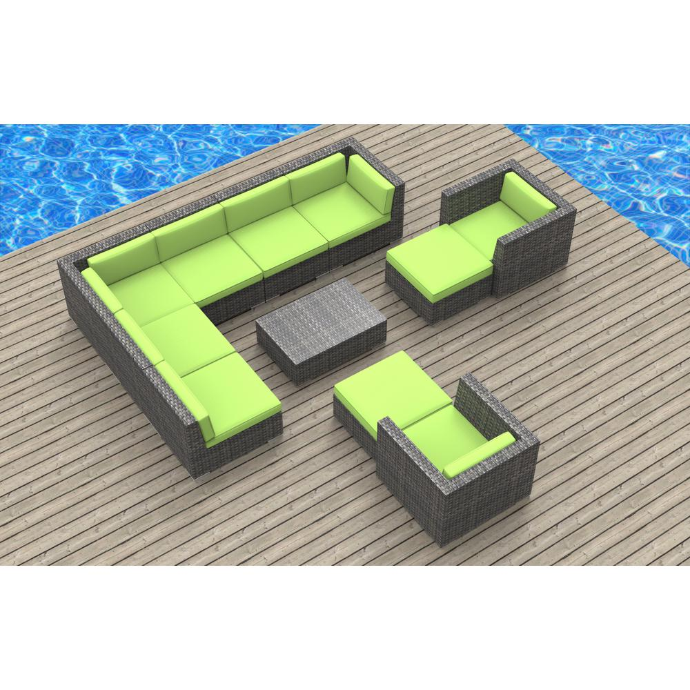 Urban Furnishing Aruba 11 Piece Wicker Outdoor Sectional Seating Set Lime Green Cushions
