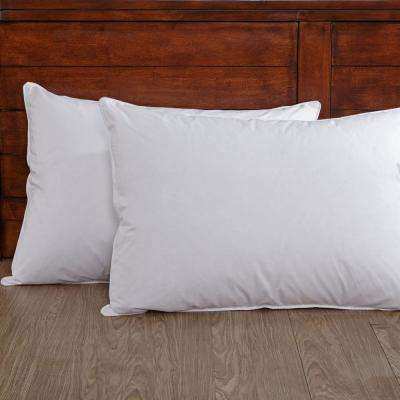 White Down Pillow 100% Cotton Fabric Twin Pack King in White