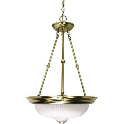 3-Light Antique Brass Pendant with Frosted Swirl Glass