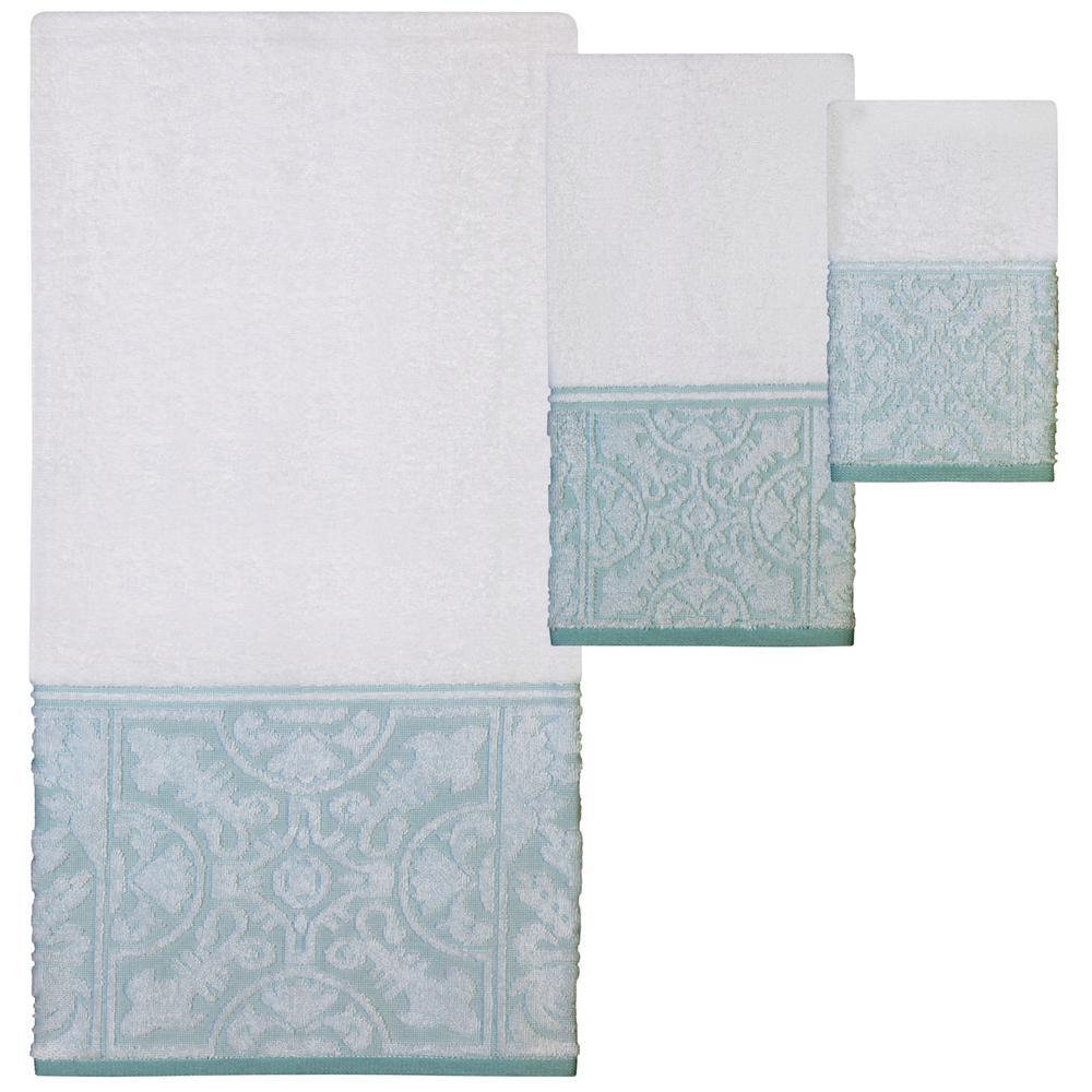 Veneto 3-Piece 100% Cotton Decorative Jacquard Towel Set in White and Blue-Green