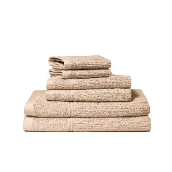 Lintex Donna 6 Piece 100 Cotton Bath Towel Set In Flax 871627 The