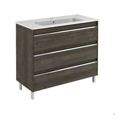 39.5 in. W x 18.1 in. D x 33.4 in. H Bathroom Vanity Unit in Samara Ash with Vanity Top and Basin in White