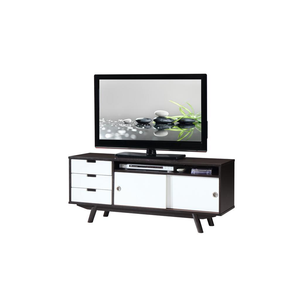 Wenge Modern Wood Veneer 55 in. TV Stand with Sliding Doors