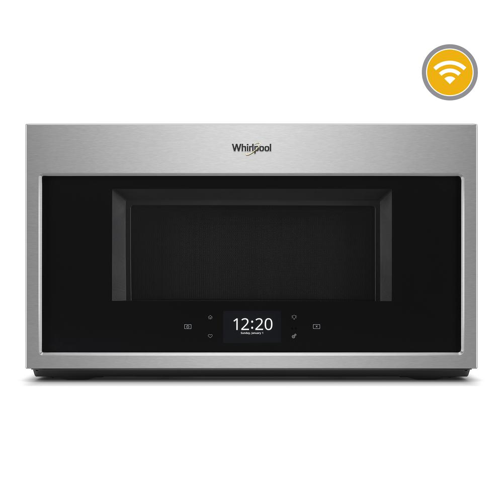 Whirlpool 1.9 cu. ft. Smart Over the Range Microwave in Fingerprint Resistant Stainless Steel with Scan-to-Cook Technology Get the right settings for your family's meals using this Whirlpool brand over the range microwave with Scan-to-Cook technology. Your smart microwave remembers family favorites when you use the touchscreen, and bakes food right in the microwave with our convection microwave's True convection cooking setting. Plus, this over the range microwave is fingerprint-resistant so smudges don't happen. Color: Fingerprint Resistant Stainless Steel.
