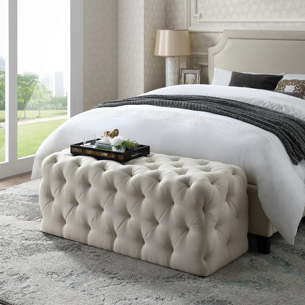 Inspired Home Norman Cream White Linen Tufted Allover Upholstered Bench