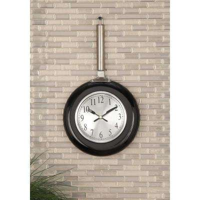 14 in. x 8 in. Modern Black Frying Pan Wall Clock