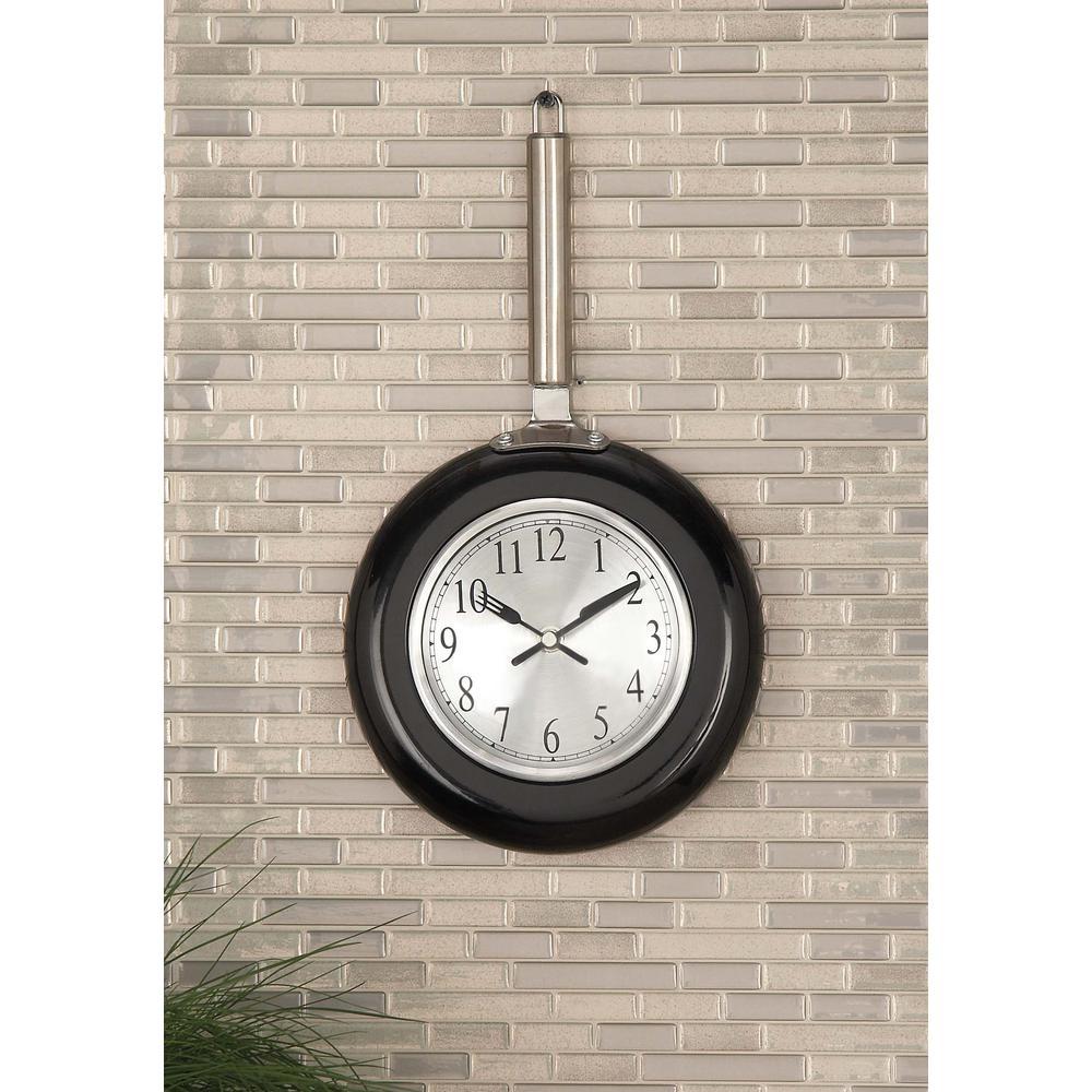 14 in. x 8 in. Modern Black Frying Pan Wall Clock
