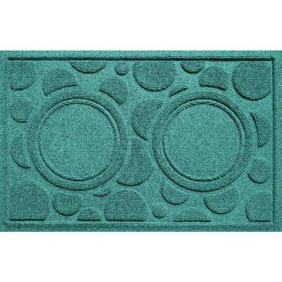 Aquamarine 18 in. x 27 in. Dog Bowl Dots Polypropylene Pet Mat