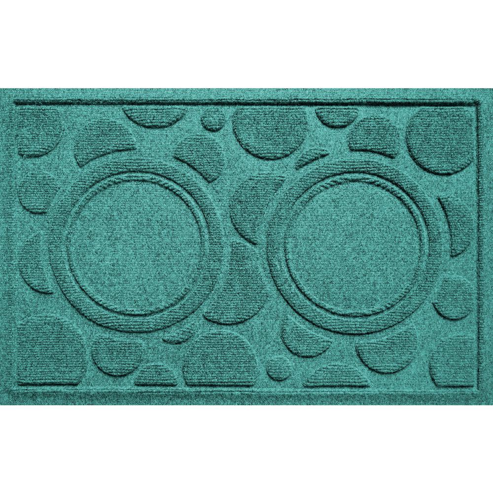 Aquamarine 18 in. x 27 in. Dog Bowl Dots Polypropylene Pet Mat