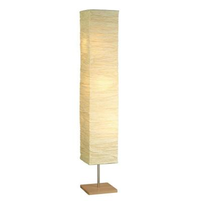 Dune 58 in. Satin Steel/Natural Wood Floor Lamp