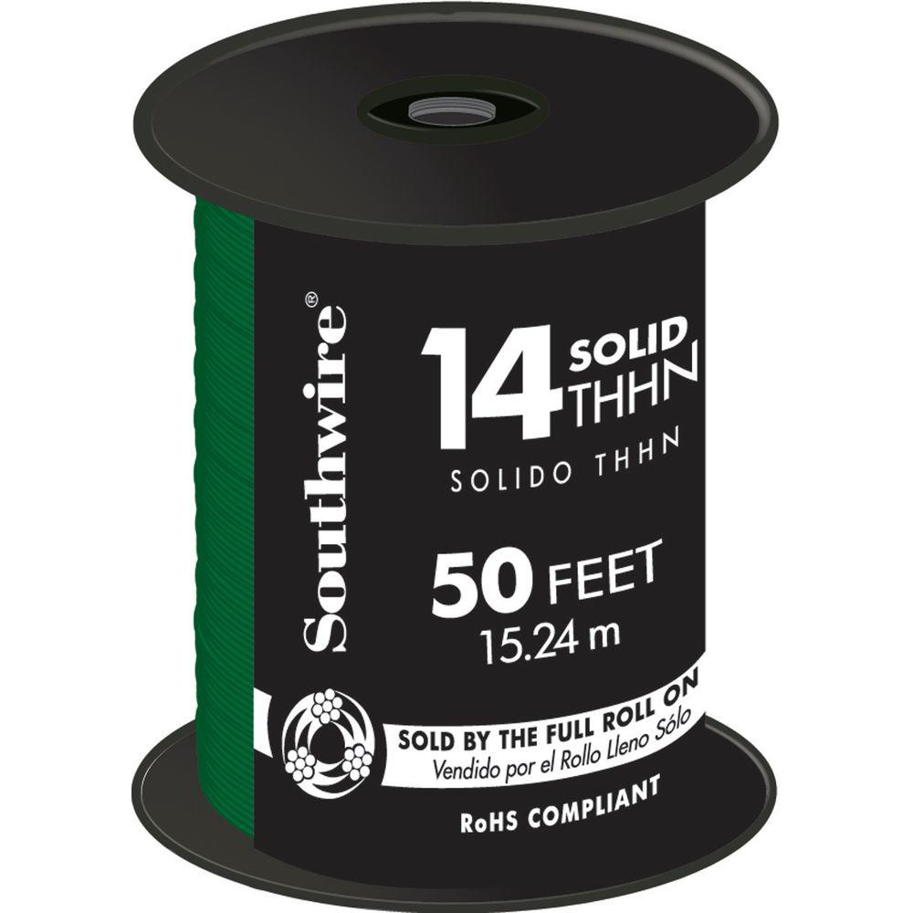 Southwire 50 ft. 14 Green Solid CU THHN Wire