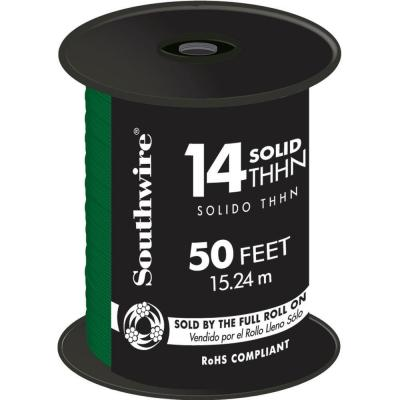50 ft. 14 Green Solid CU THHN Wire