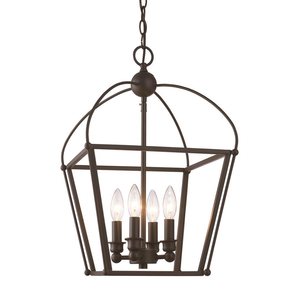 Bel Air Lighting Agnew 4-Light Rubbed Oil Bronze Pendant