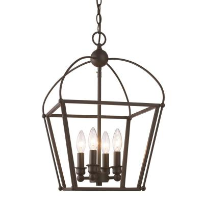 Agnew 4-Light Rubbed Oil Bronze Pendant