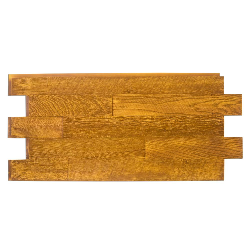 Superior Building Supplies Faux Barnwood Panel 1-1/4 in. x 52.25 in. x 23 in. Honey Pine Polyurethane Interlocking Panel Superior's 52 in. x 24 in. Faux Barnwood Panel (Honey Pine) is a perfect fit. Install with screws and adhesive, they're lightweight because they're made of high-density polyurethane which makes them virtually maintenance free. No insect pests or rotting to worry about. Provides years of lasting beauty because they're UV protected.