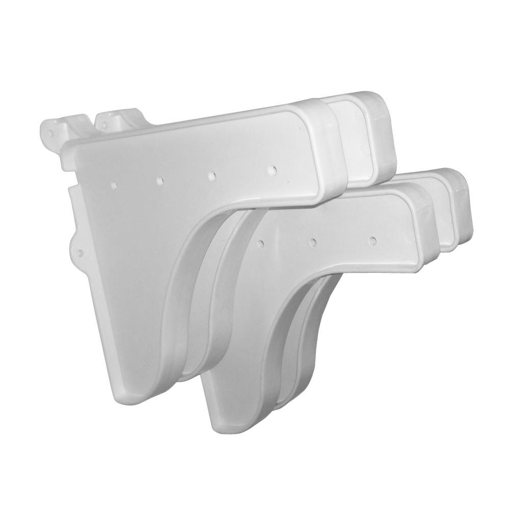 EZ Shelf 12 in. x 10 in. White End Brackets (Set of 4) for Shelves (for mounting to back wall/connecting)