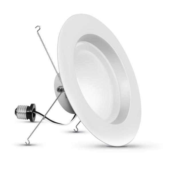 5/6 in. 120-Watt Equiv Daylight 5000K High Output Integrated LED Retrofit White Recessed Light Trim Downlight (6-Pack)