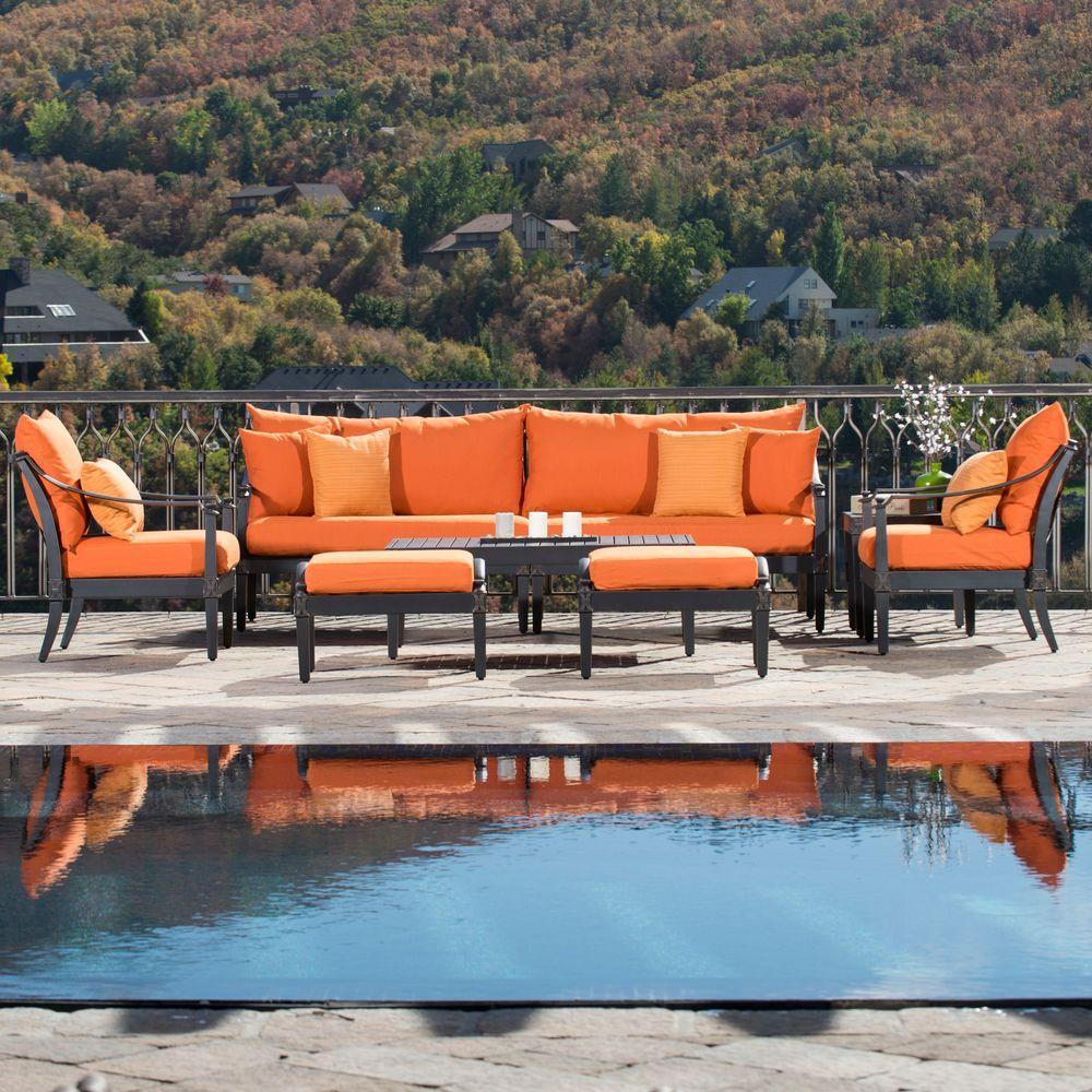 Astoria 8-Piece Patio Seating Seat with Tikka Orange Cushions