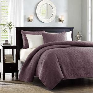 Madison Park Mansfield 3 Piece Purple King Cal King Coverlet
