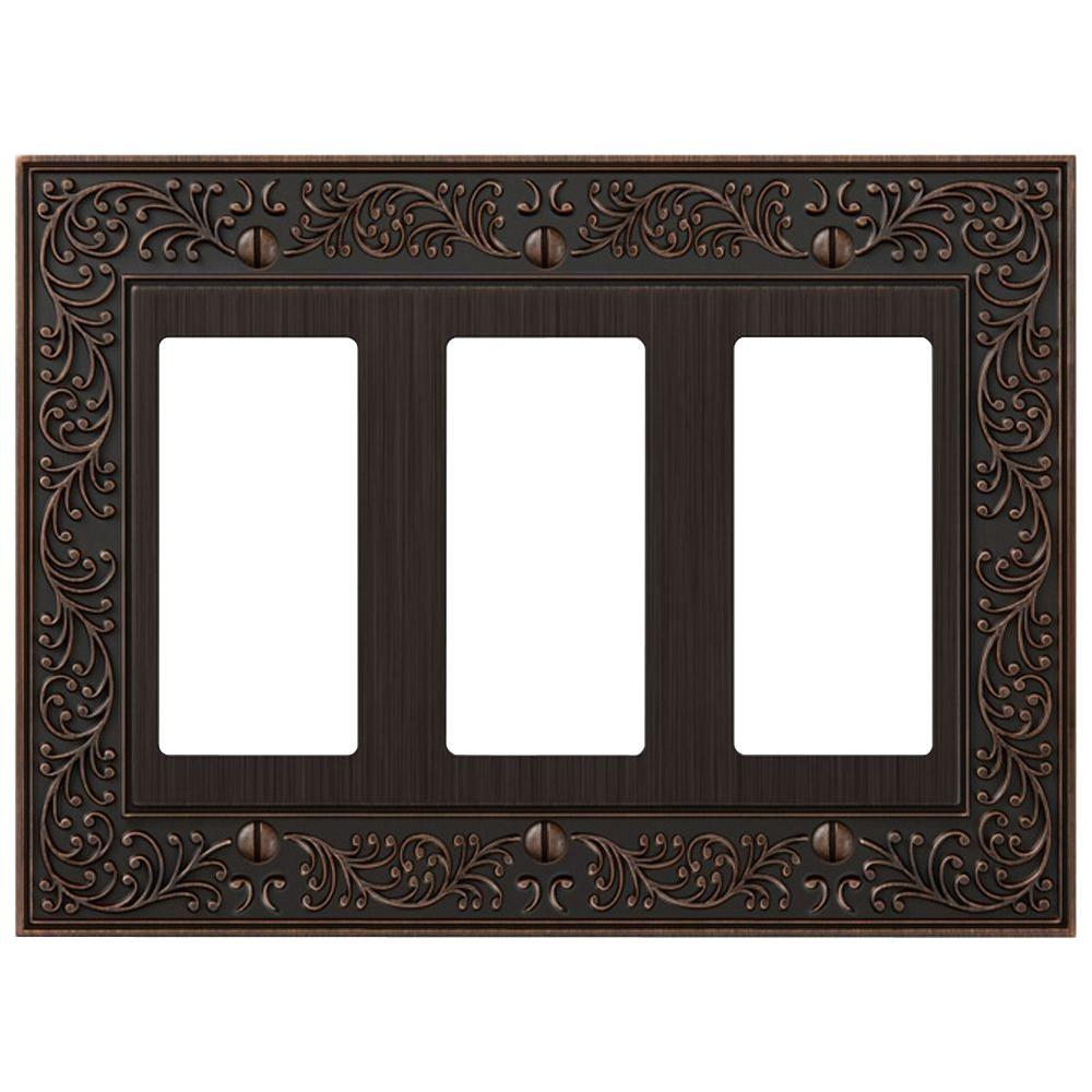 English Garden 3 Decora Wall Plate - Aged Bronze