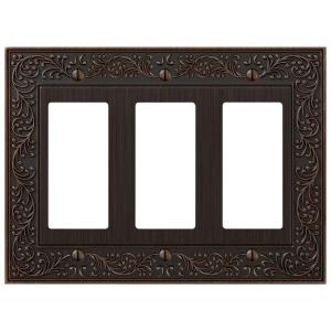 Amerelle English Garden 3 Decora Wall Plate - Aged Bronze by Amerelle