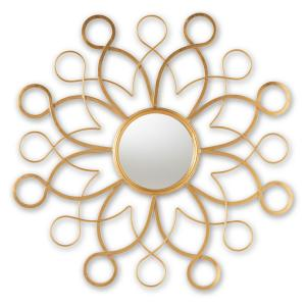 Medium Round Antique Gold Contemporary Mirror (36 in. H x 36 in. W)