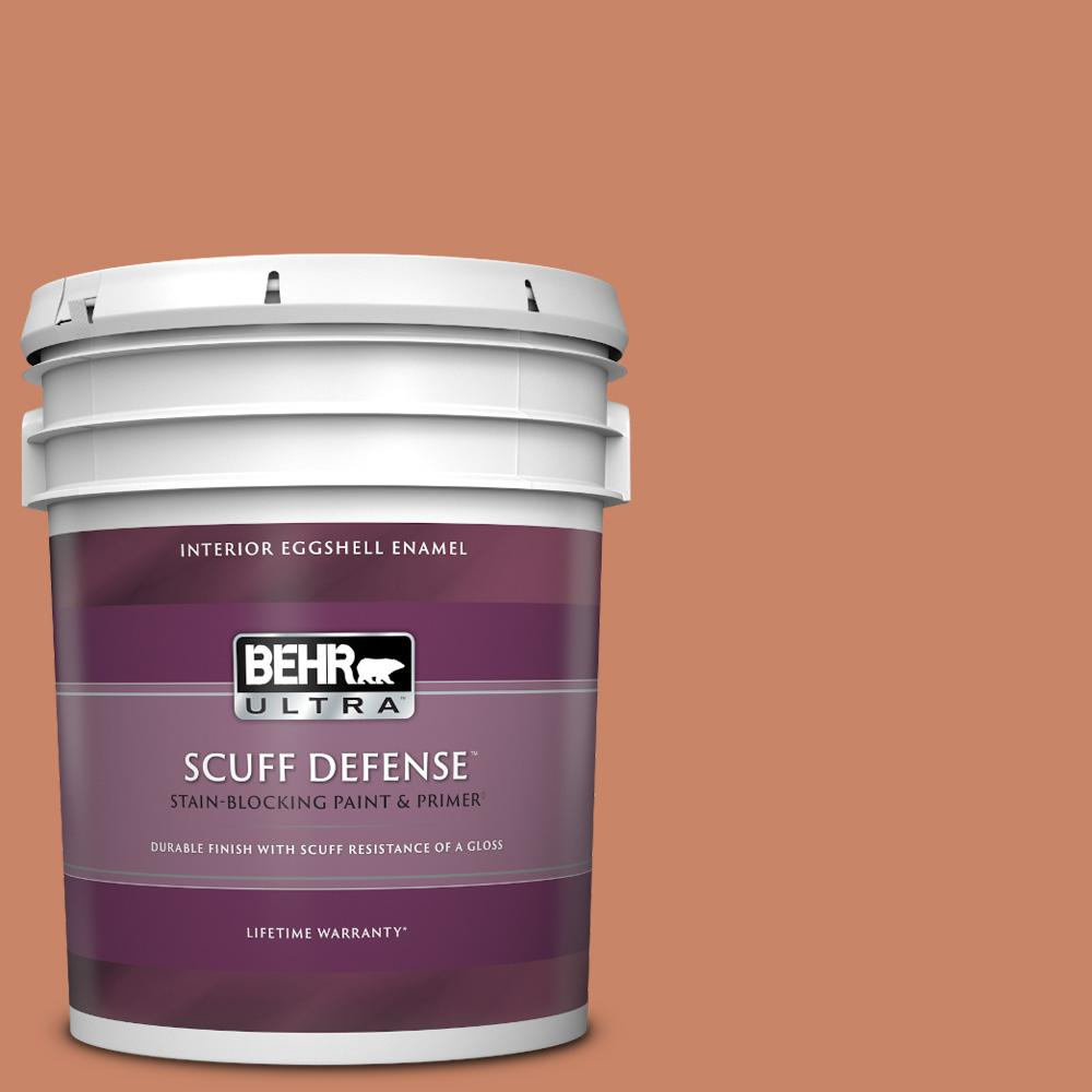 Behr Ultra 5 Gal Mq4 39 Cabana Melon Extra Durable Eggshell Enamel Interior Paint And Primer In One 275305 The Home Depot