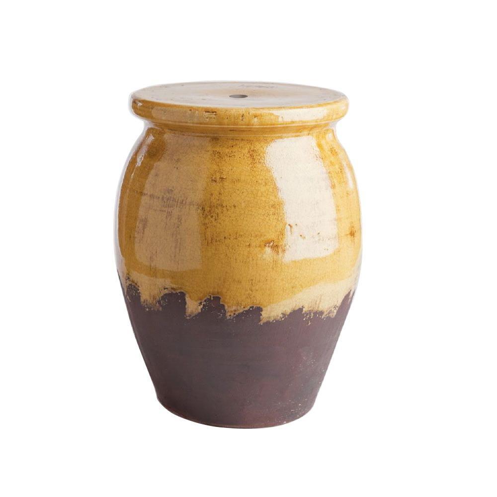 Napa Portofino 13 in. x 18 in. Yellow Ceramic Plant Stand