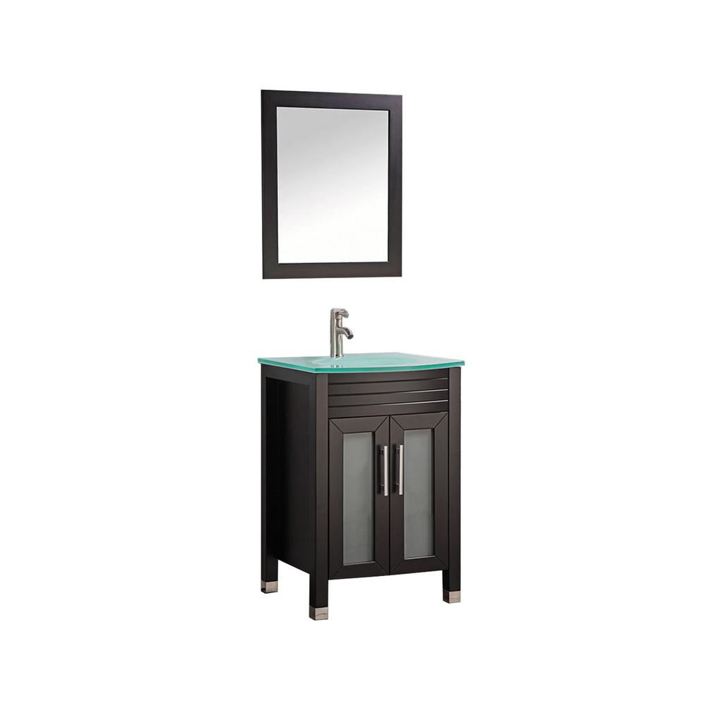 MTD Vanities Figi 24 in. W x 20 in. D x 36 in. H Vanity in Espresso with Glass Vanity Top in Aqua with Aqua Basin and Mirror