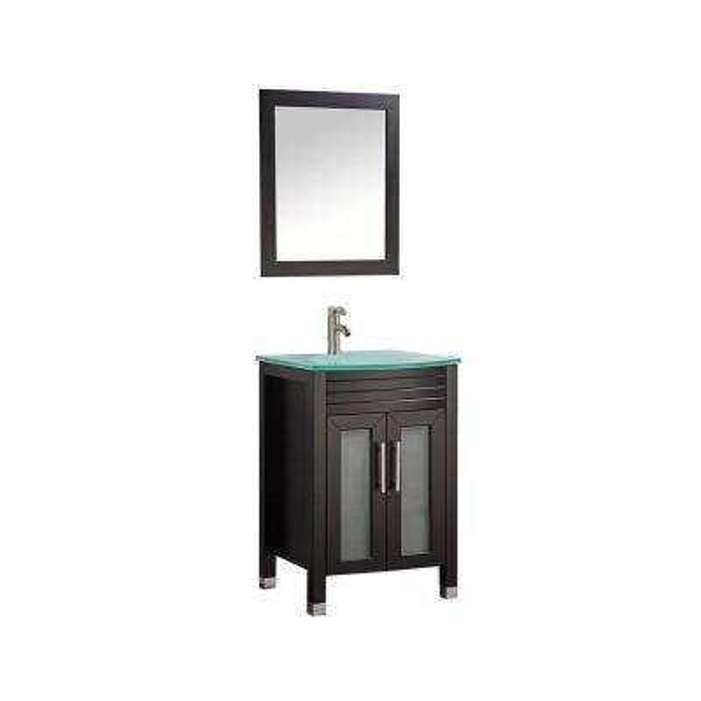 Figi 24 in. W x 20 in. D x 36 in. H Vanity in Espresso with Glass Vanity Top in Aqua with Aqua Basin and Mirror