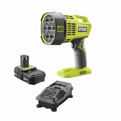 18-Volt ONE+ Hybrid LED Spotlight, 12-Volt Automotive Cord with Lithium-Ion 2.0Ah Battery and Dual Chemistry Charger Kit