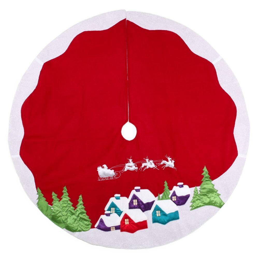 Martha Stewart Living 48 in. Red Fleece Santa and Sleigh Over Rooftops Christmas Tree Skirt