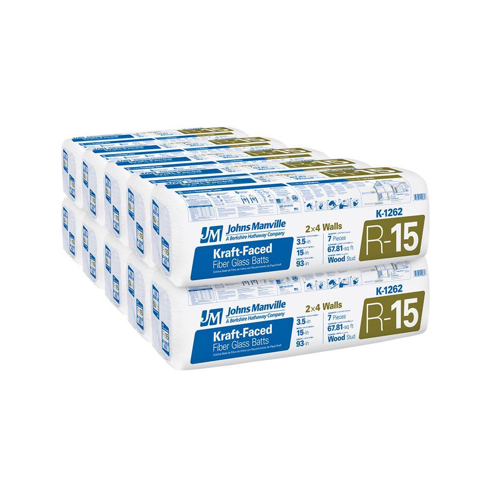 Johns Manville R-15 Kraft Faced Fiberglass Insulation Batt 15 in. x 93 in. (10-Bags)