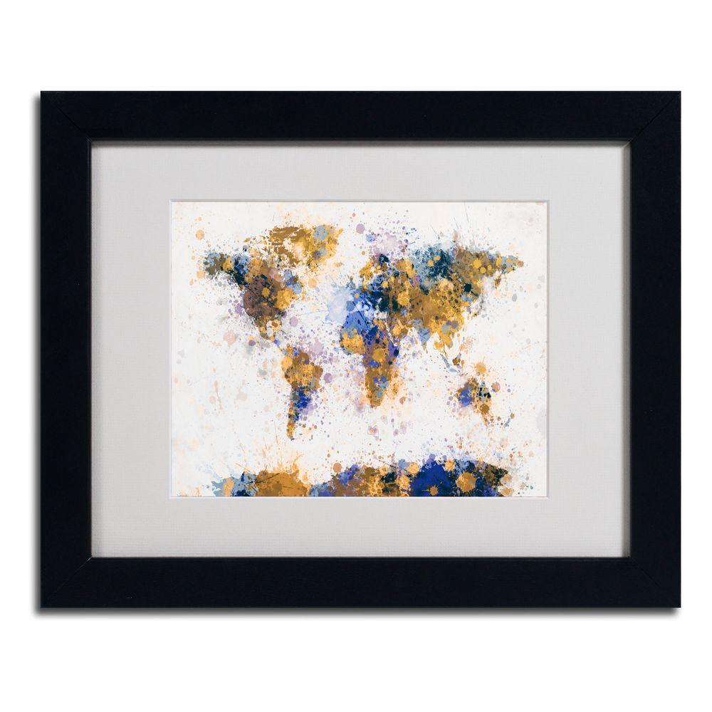 null 11 in. x 14 in. Paint Splashes World Map 2 Matted Framed Art