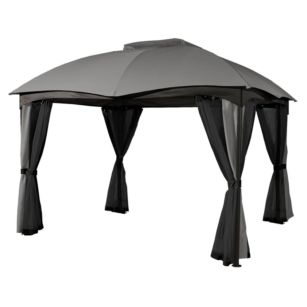 Sojag Sojag 10 ft. D x 12 ft. W Phuket Steel Gazebo with Polyester Roof, 1-Pole System, and Nylon Mosquito Netting, Grays