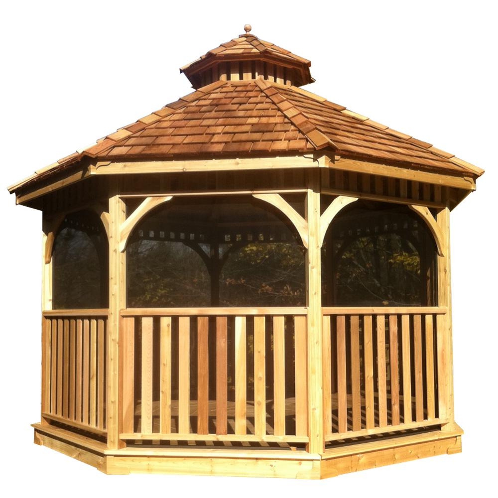 Outdoor Living Today 10 Ft Bayside Cedar Octagon Gazebo With Screen Kit