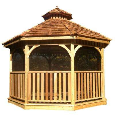 10 ft. Bayside Cedar Octagon Gazebo with Screen Kit