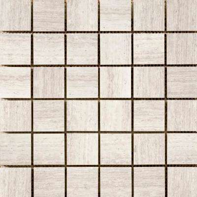 Marble Cream Honed 11.93 in. x 11.93 in. x 10 mm Limestone Mesh-Mounted Mosaic Tile (1.02 sq. ft.)