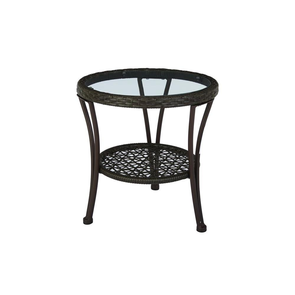 Hampton bay arthur all weather wicker patio side table for Outdoor patio side tables
