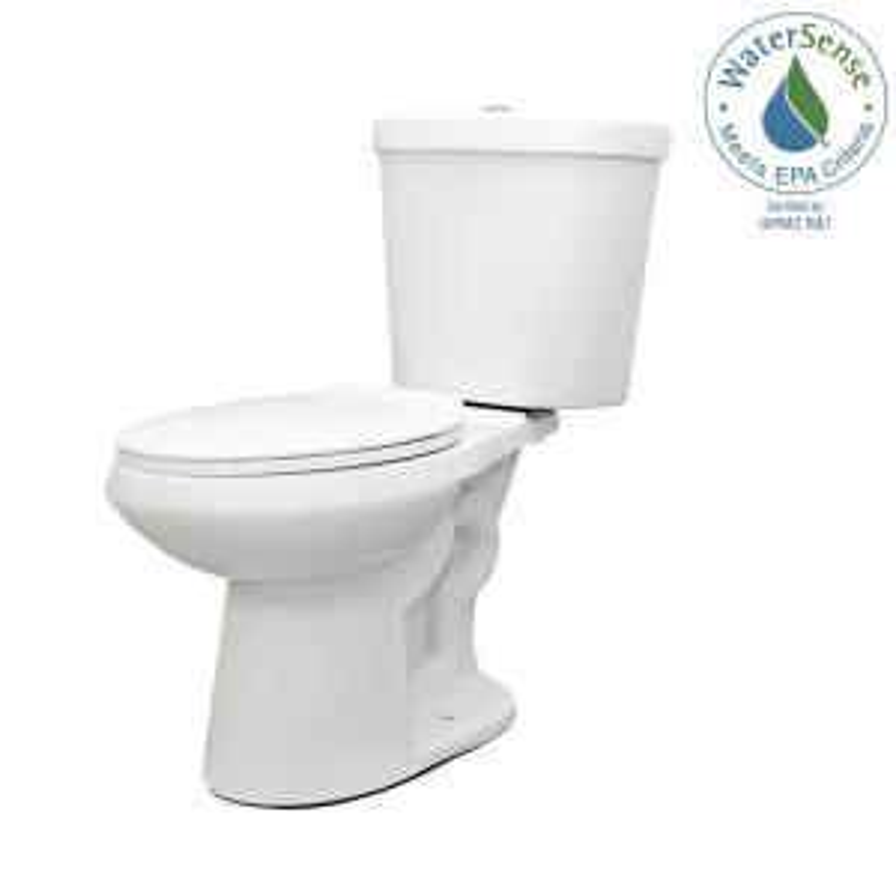 Glacier Bay 2-piece 1.1 GPF/1.6 GPF Dual Flush Round Toilet in White by Glacier Bay