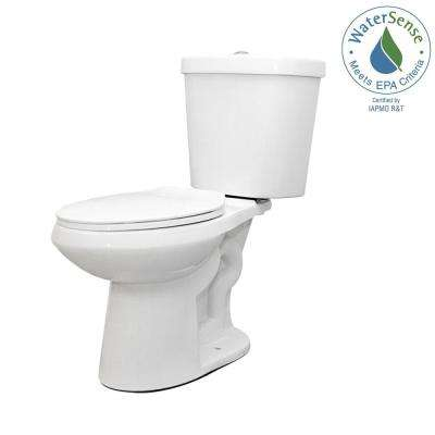 2-piece 1.1 GPF/1.6 GPF Dual Flush Round Toilet in White