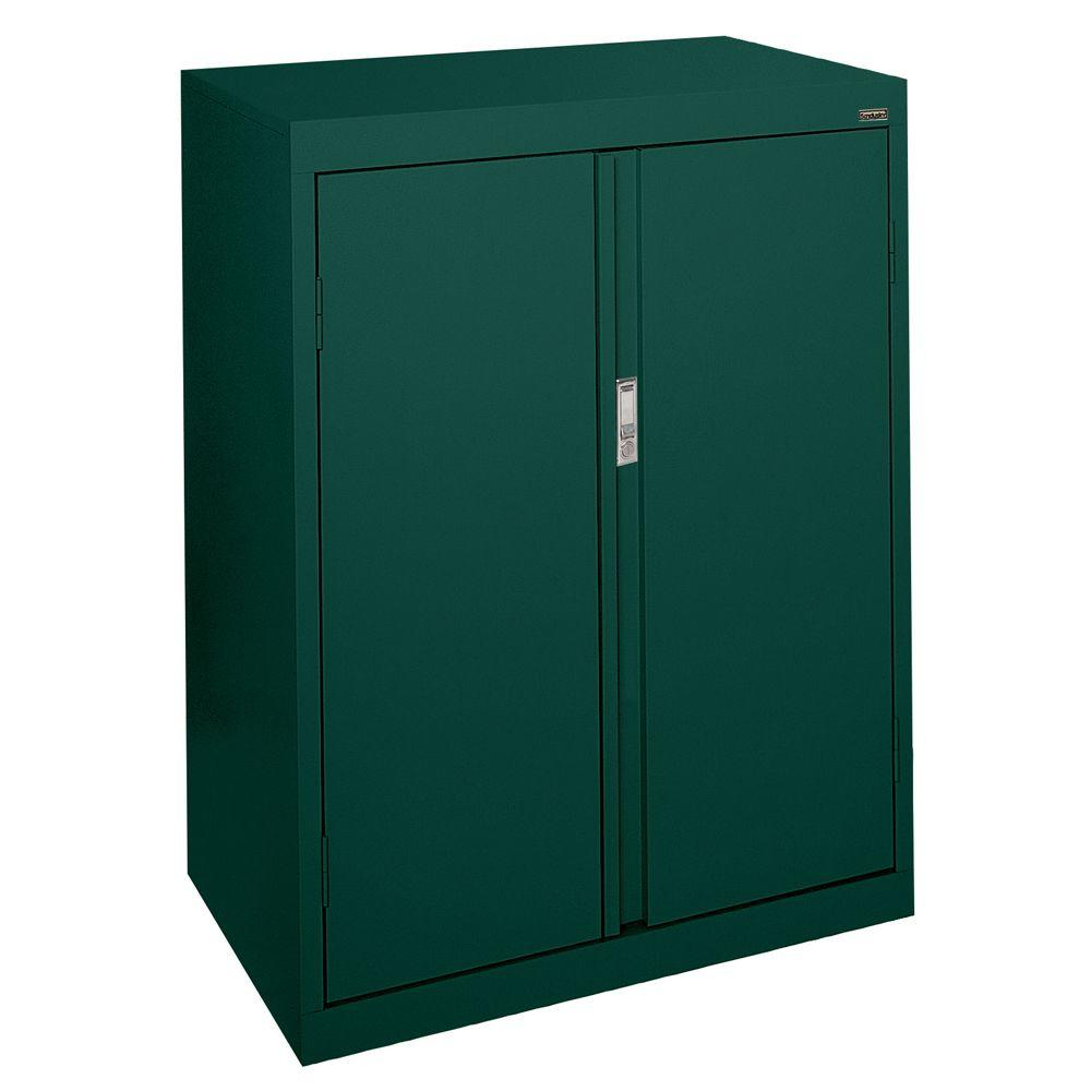 Sandusky system series 30 in w x 42 in h x 18 in d forest green counter height storage - Green kitchen cabinets storage ...