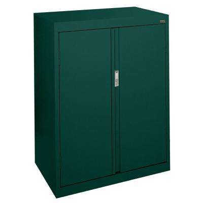 System Series 30 in. W x 42 in. H x 18 in. D Forest Green Counter Height Storage Cabinet with Fixed Shelves