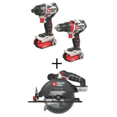 20-Volt MAX Lithium-Ion Brushless Cordless Combo Kit (2-Tool) with 6-1/2 in. Cordless Circular Saw (Tool-Only)