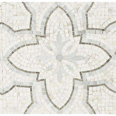Garden White Gray 12 in. x 12 in. x 10 mm Marble Mosaic Tile