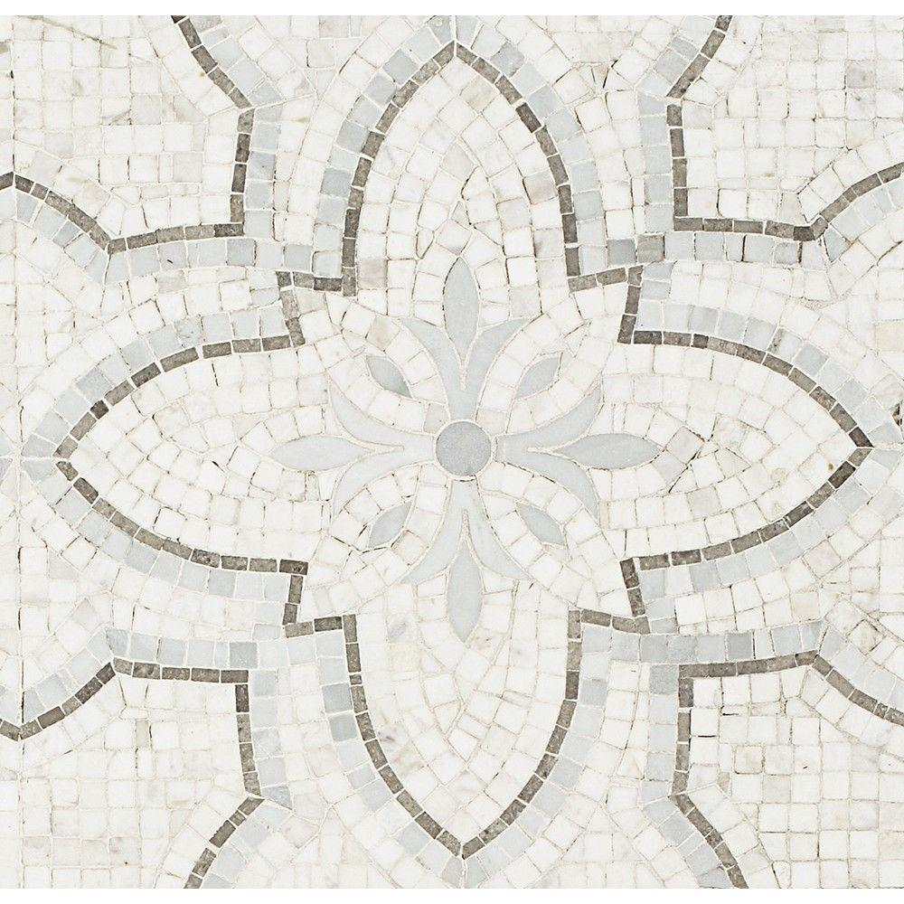 Splashback Tile Garden White Gray Marble Mosaic Tile - 3 in. x 6 in ...